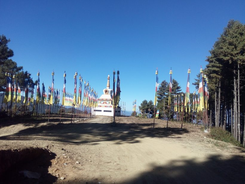 Buddhist Chorten and Prayer Flag in ramechap -1