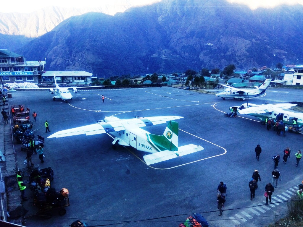 A tiny airstrip of Lukla Airport at 2840m, The gateway of Everest