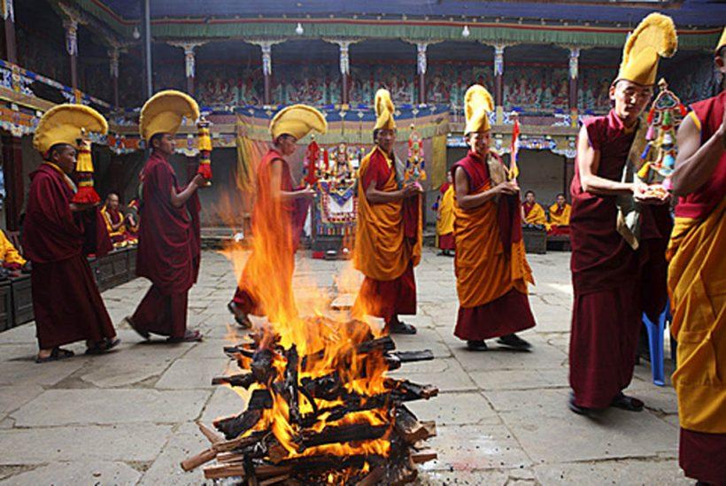 Fire ritual  of Mani Rimdu Festival.